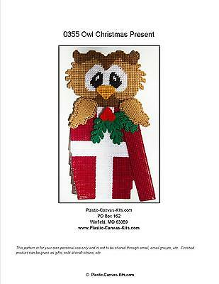 Owl in Present Wall Hanging-Christmas-Plastic Canvas Pattern or Kit