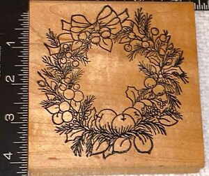 Wreath Rubber Stamp Mounted Wood Block Art Stamp