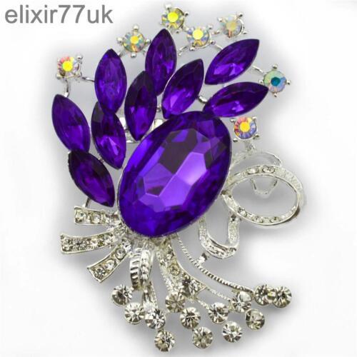 """Nuevo 3 /""""Gran Flor De Plata Broche púrpura Diamante Cristal Boda nupcial abordar"""