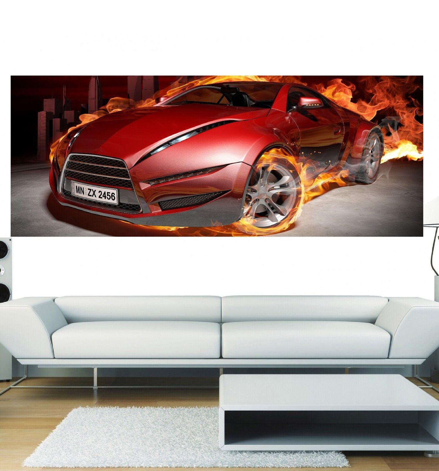 Papel pintado panorámica coche en llamas 3648 Arte decoración Pegatinas