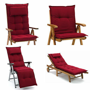 neu luxus auflagen f r hochlehner niederlehner relaxliegen und liegen in weinrot ebay. Black Bedroom Furniture Sets. Home Design Ideas