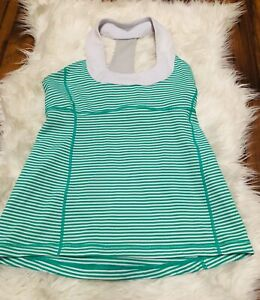 Lululemon-Tank-Top-shirt-built-in-bra-striped-white-green-Womens-Size-8-X6