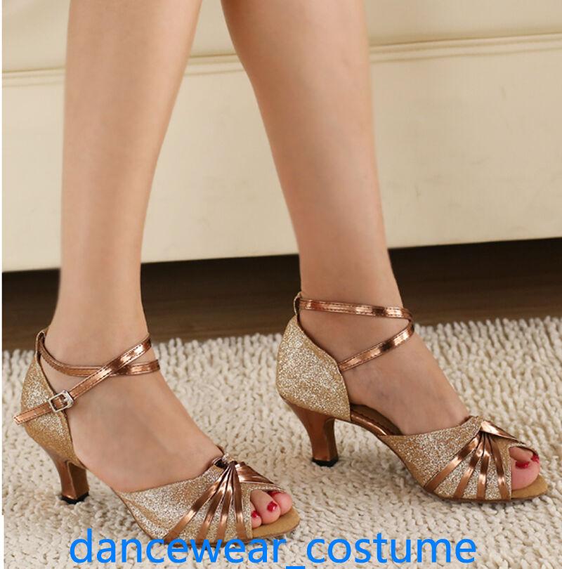 New Ladies Party Ballroom Latin Tango Salsa Dance Shoes Shoes Dance Sandals 6cm Heels US5-9 005534