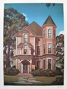 DAVID-MANN-034-GOTHIC-HOUSE-034-Hand-Signed-Limited-Edition-Art-Lithograph