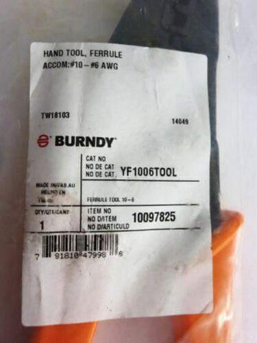 #10 BURNDY YF1006TOOL 10097825 Ferrule Crimping Tool #6 AWG