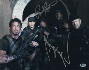SYLVESTER-STALLONE-JET-LI-3-SIGNED-AUTOGRAPH-THE-EXPENDABLES-11x14-PHOTO-BAS