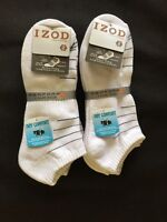 6 Pair Izod Performx Mens White Ankle Socks Arch Support 6-12 Athletic