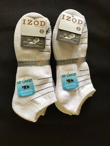 6 pair izod performx mens white ankle socks arch support 6