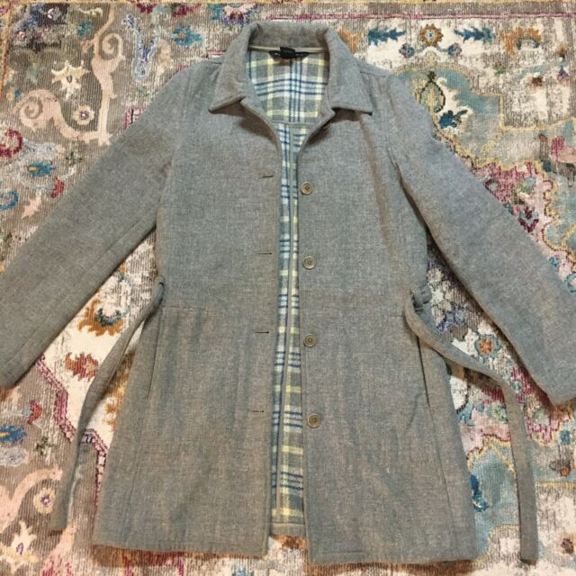 Abercrombie & Fitch Peacoat Women's Size S Small Coat Wool Blend Button Up Gray