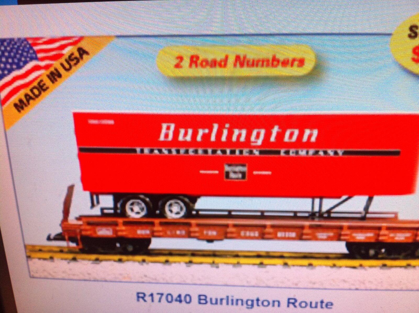 USA Trains G Scale Flat Car w/Trailer R17040 Burlington