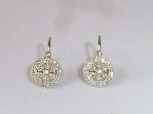 Ladies-Victorian-Design-Sterling-925-Silver-Leverback-White-Sapphire-Earrings