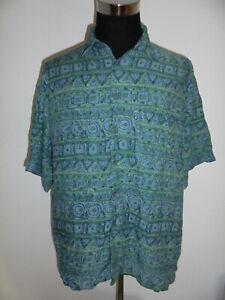 vintage-MARKS-amp-SPENCER-90-s-Hemd-crazy-pattern-shirt-viskose-90er-oldschool-XL