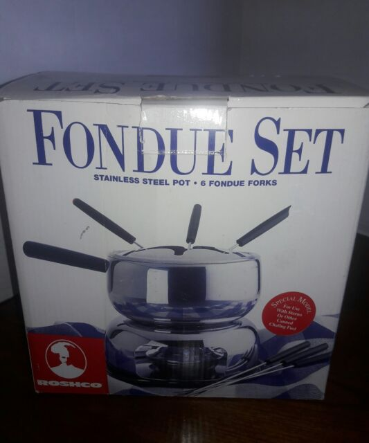 FONDUE SET Alcohol Burner by Roshco STAINLESS STEEL POT & 6 FORKS New in box