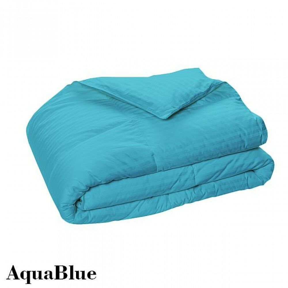 Branded Down Alternative Comforter Egyptian Cotton Aqua bluee Stripe US Twin Size