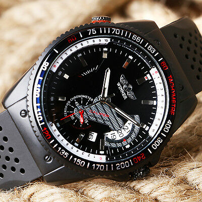 WINNER Military Date Dial Automatic Mechanical Silicone Strap Men Wrist Watch