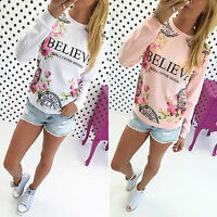 Women Crew Neck Floral Letter Print Sweatshirt Pullover Top T-Shirt Blouse Hoody