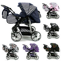 Baby Pram Buggy Pushchair Stroller + Carrycot Poussette Pascal + Air Wheels