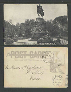 1908-WASHINGTONS-MONUMENT-FAIRMONT-PARK-PHILADELPHIA-PA-UDB-UNDIVIDED-BACK-PCARD