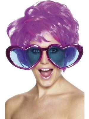 Ladies Big Jumbo Heart Shaped Glasses 60's 70's Fancy Dress