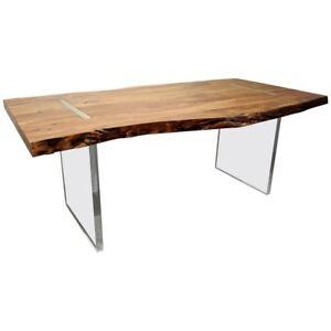 Details About Modern Designer Studio Floating Top Acacia Slab Wood Lucite Dining Table
