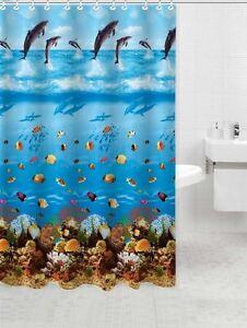 Image Is Loading Aquarium Sea Life Fabric Shower Curtain Made With