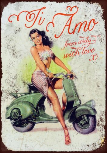 Italian Vespa Retro Vintage Metal Advertising Sign Scooter Wall Gift Picture