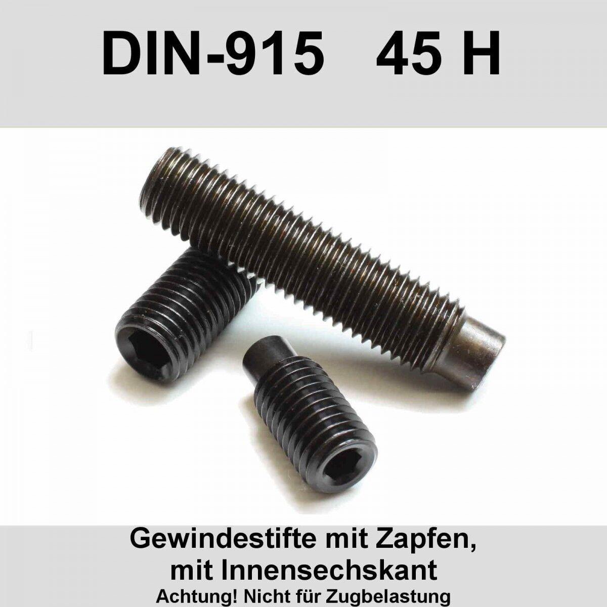 M8 DIN915 45H Gewindestifte Zapfen Innensechskant Madenschrauben Stahl blank M8x   | Schönes Design