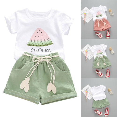 Toddler Kids Baby Girl Watermelon Letter Print Tops Shorts Outfits Set Clothes
