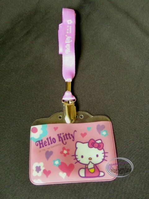 5caf46ec0 Sanrio HELLO KITTY Lanyard School Work Pass ID Badge Tag holder ladies girls