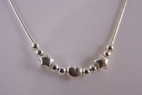 """925 Sterling Silver Small Star Heart Ball 16/"""" Snake Chain Necklace Choker GIFT N"""