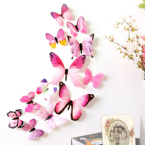 12pcs Decal Wall Stickers Kids Room Home Decor 3D Art Decal Butterfly Rainbow