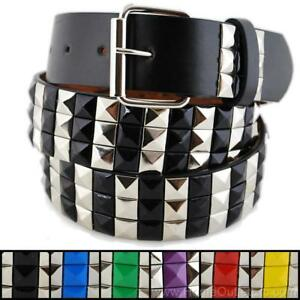 3-Row-Metal-Pyramid-Studded-Leather-Belt-2-Tone-Striped-Punk-Rock-Goth-Emo-Biker