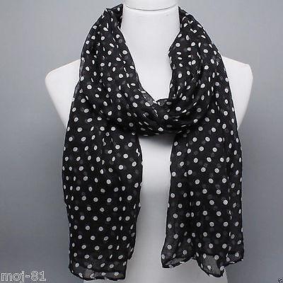 Fashion Women's Black White Dot Chiffon Long Soft Thin Beach Scarf Stole Wrap