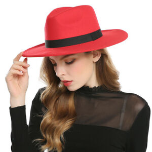 Fashion-Women-039-s-Wide-Brim-Wool-Felt-Hats-Fedora-Men-Hat-Jazz-Hats-Sombrero-Cap