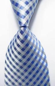 New-Classic-Checks-Blue-White-JACQUARD-WOVEN-100-Silk-Men-039-s-Tie-Necktie