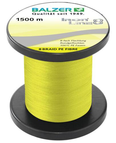 BALZER IronLine8 Spin Schnur 8-fach rund geflochten gelb 0,14mm 10,7kg à 50m TOP