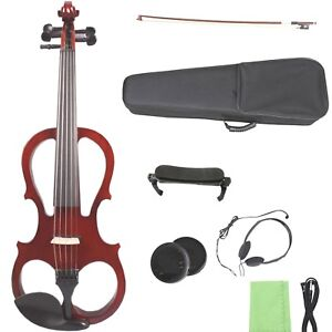 yinfente silent electric viola 5 string solid wood dark red free