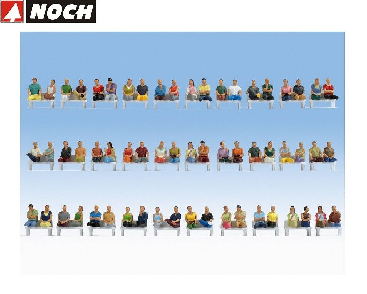 Noch H0 16072 Mega saving Set Sitting Passengers 60 Characters,without Legs New