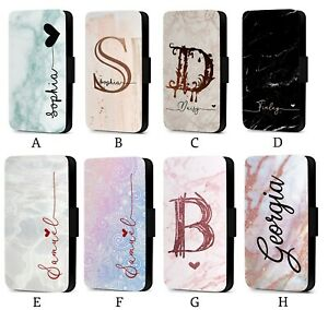 new style a10cf 27e59 Details about Personalised Initial Custom Marble Pattern Faux Leather Flip  Phone Case Cover