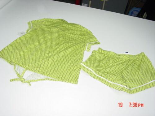 NWT Women/'s Summer Pajama Set Notched Boxer Top Shorts Lounge Green Print Soft