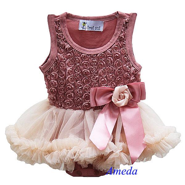 Newborn Baby Girls Rosettes Tea Rose Bodysuit Romper Pettiskirt Party Dress 0-18