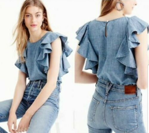 J. Crew Womens Size 14 Blue Chambray Cotton Ruffle