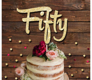 Fantastic Fifty Glitter Cake Topper Birthday Party 50Th Birthday Cake Funny Birthday Cards Online Alyptdamsfinfo