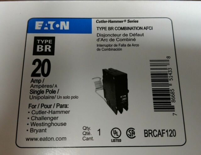 Eaton Cutler Hammer BRCAF120 Combination Arc Fault 20 Amp Breaker Type BR AFCI