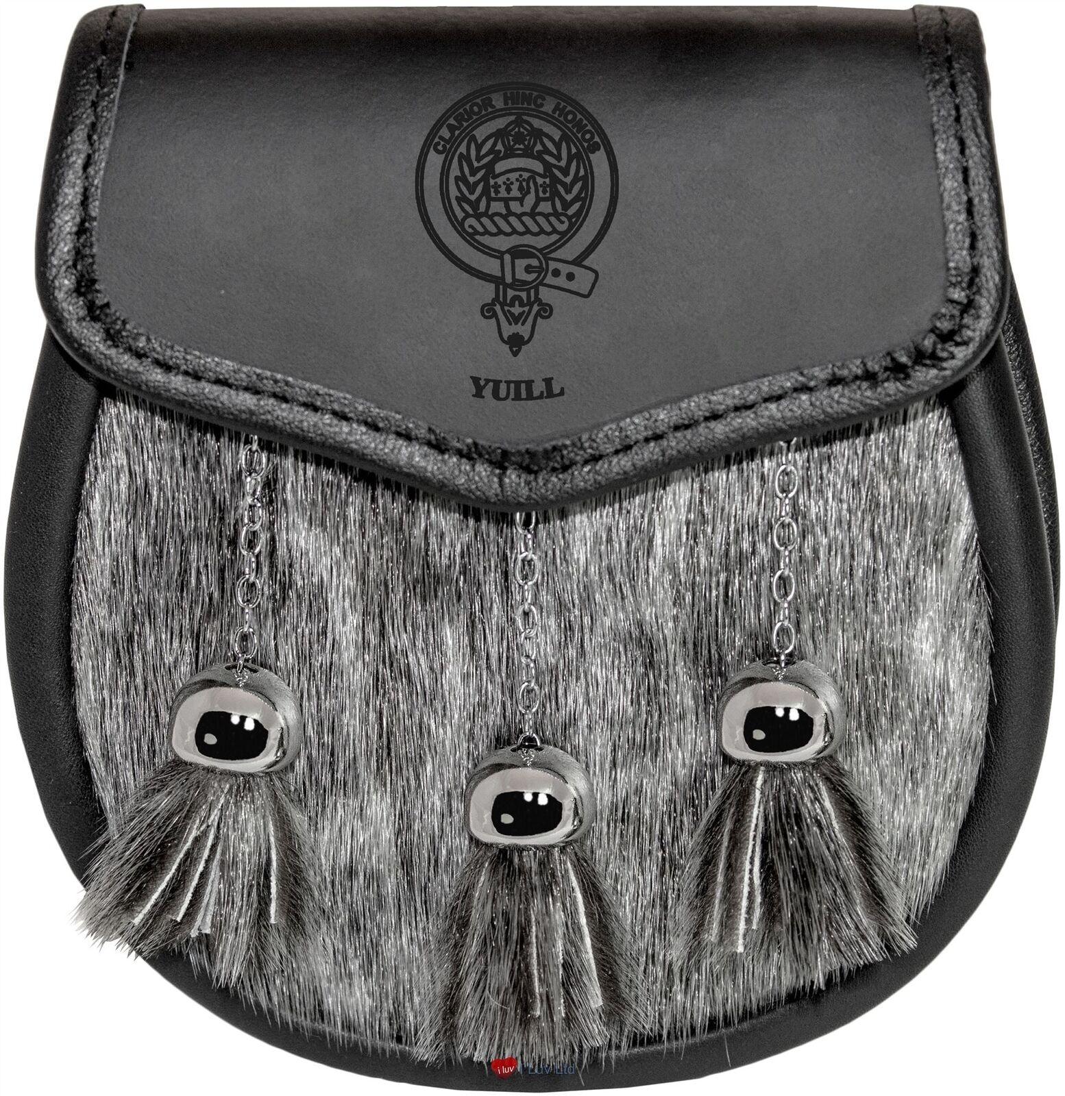 Yuill Semi Dress Sporran Fur Plain Leather Flap Scottish Clan Crest