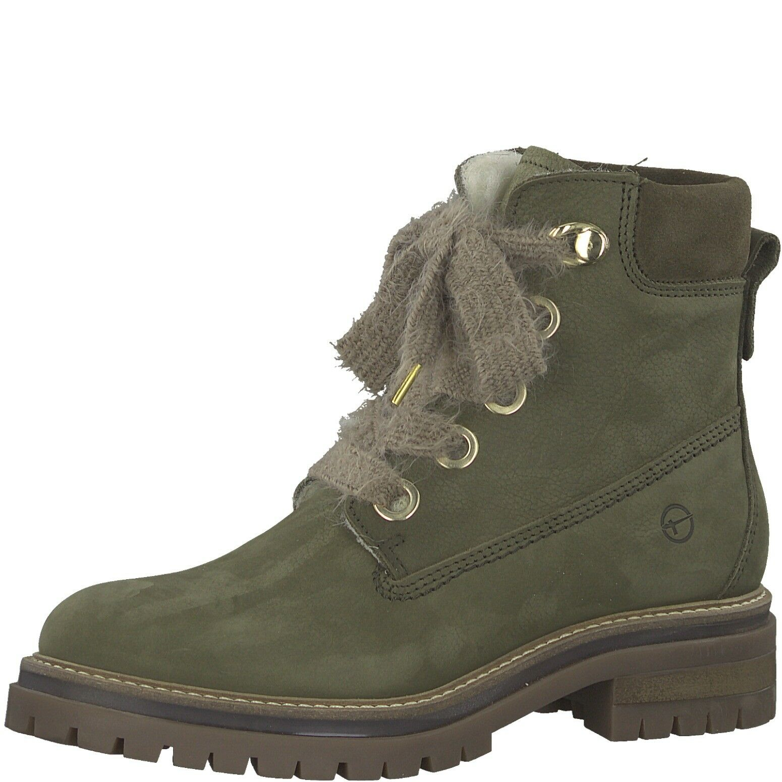 Tamaris Women's Boots Green Olive 39 40 Virgin Wool Leather Removable Footbed