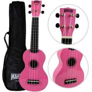 left handed mahalo soprano ukulele pink with case uk seller ebay. Black Bedroom Furniture Sets. Home Design Ideas
