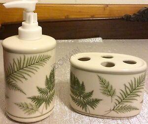 Fern Leaves Leaf Bathroom 2 Pc Set Lotion Soap Dispenser