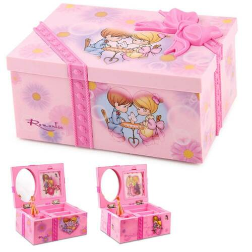 PHOTO HOLDER GIRLS PINK BALLERINA KIDS MUSICAL BOX JEWELRY /& TRINKET MIRROR
