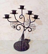 Spooky Black Metal Candelabra W/Spider Webs & Black Cat  For 5 Taper Candles